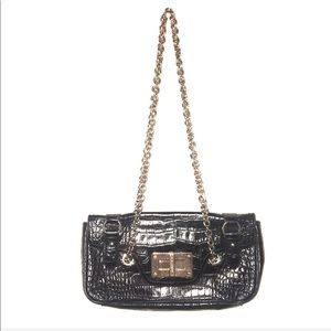 LRL black faux alligator bag with chain straps.
